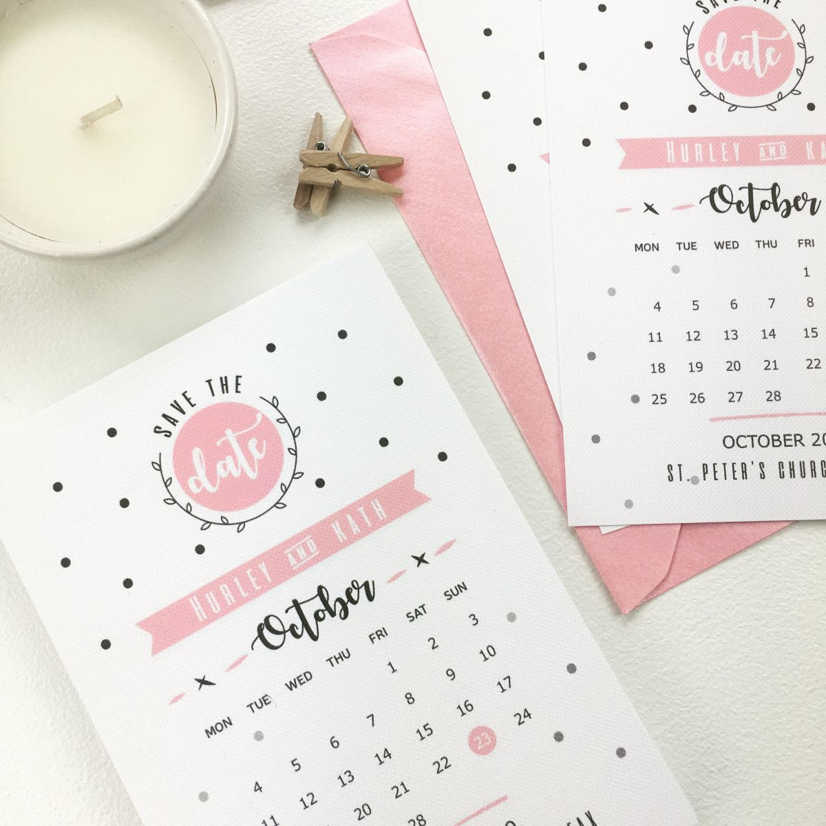 Pink Save The Date Cards in Polka Dot Style