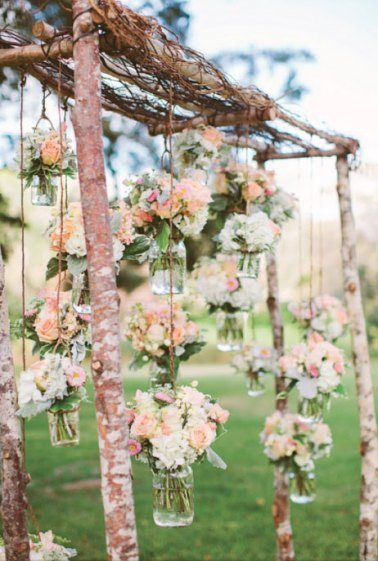 Minimal Wedding Arch with Hanging Mason Jars