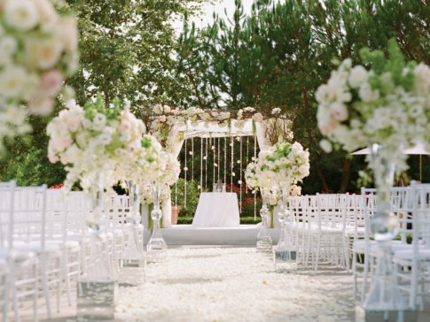 outdoors classic white wedding arch idea