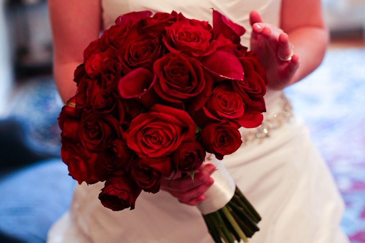 Red rose wedding flowers bouquet