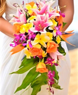 Wedding Bouquet with tropical flowers