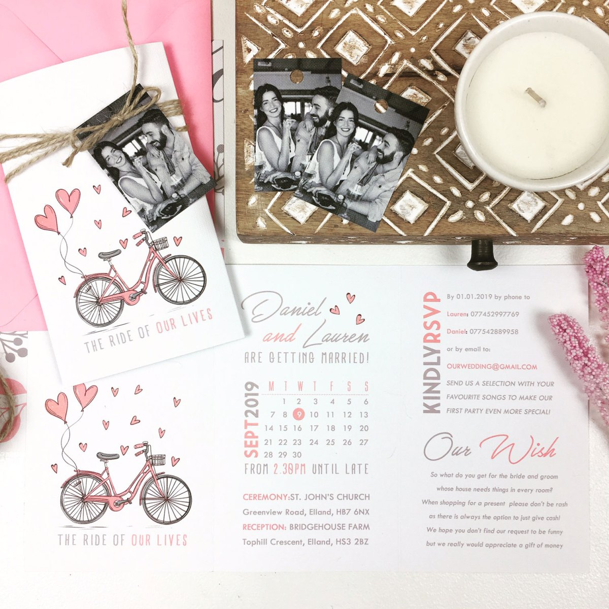 Pink Bike Trifold With Photo Luggage Tag
