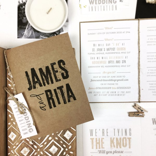 Wedding Invitation with names rustic cover
