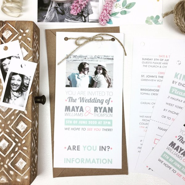polaroid wedding invite set with rustic twine