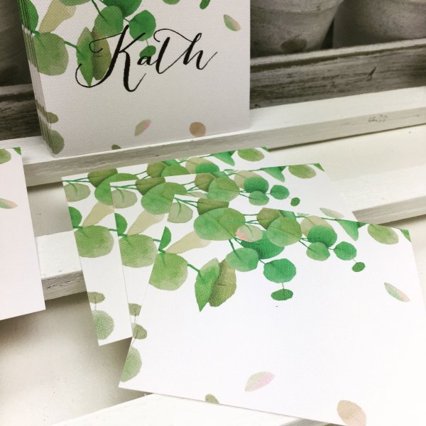 blank flat botanical green place cards