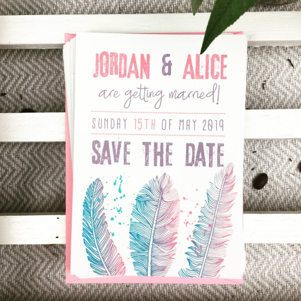 Pink and Blue Feather Save The Date