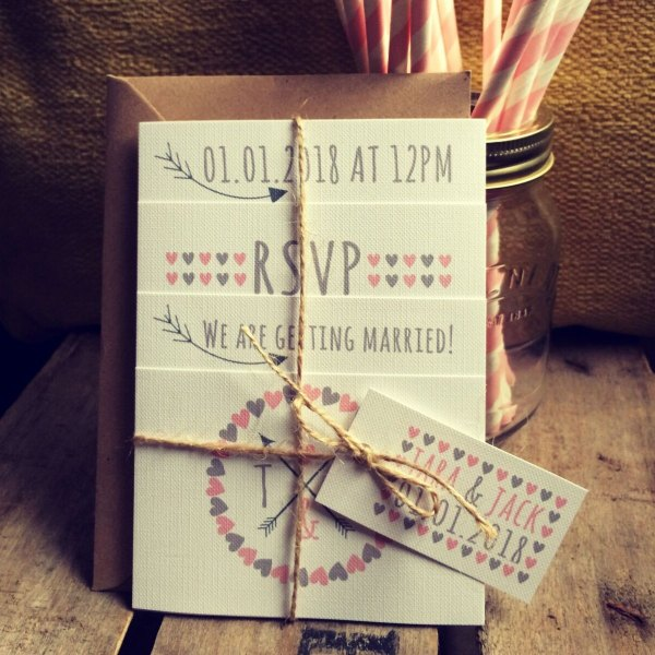 Pink love hearts and arrows wedding invitation Set