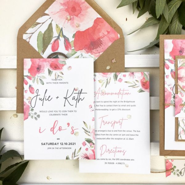 Wedding invitation set with main invite, info card and rsvp card