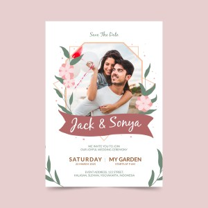 Save the date with photo and spring flower design