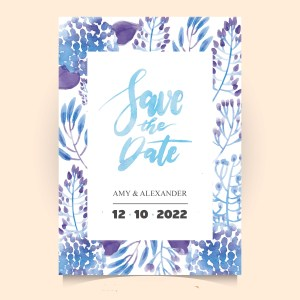 Save the date in blue shades with botanical details