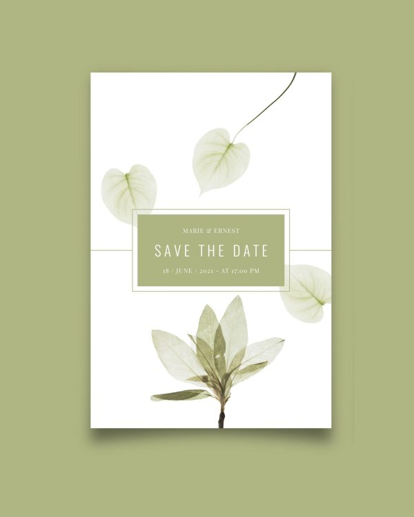 Save the date botanical green flower background
