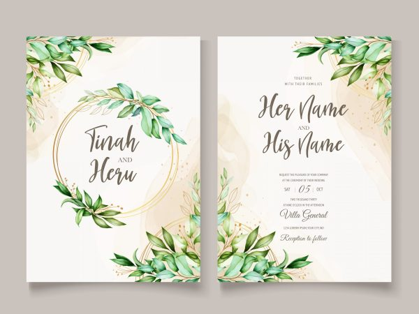 2 layer botanical wedding invitation with greenery an watercolour hints