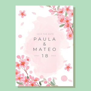 Botanical garden pink flowers save the date card watercolour design