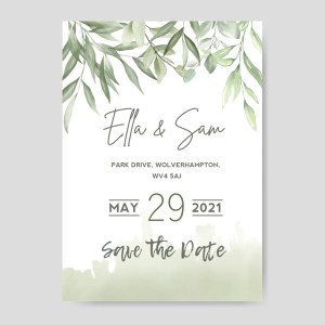 Save the date card with olive design green watercolour shades