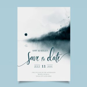 save the date card with navy watercolour background