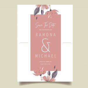 Pink flower save the date card pink banner