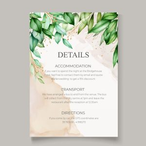 info card with botanical background