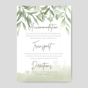 info card with watercolour olive leaves background