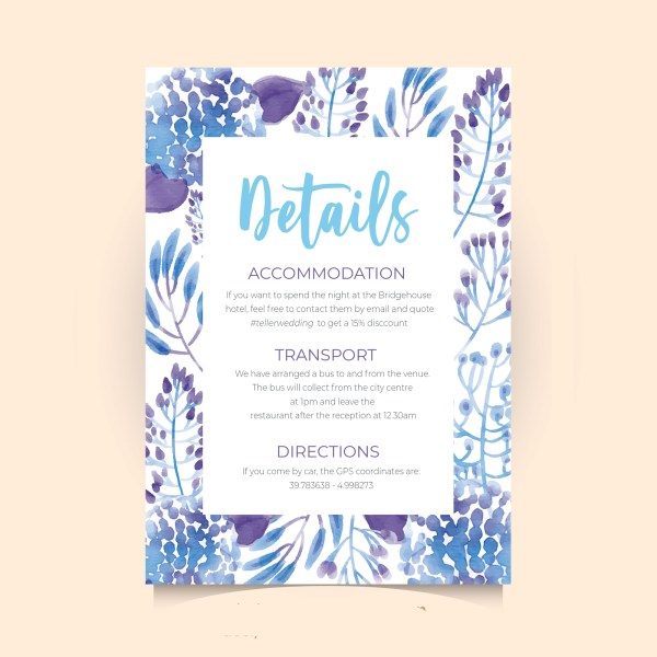 info card with blue tropical leaves design