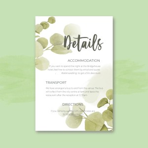 info card with eucalyptus leave detail