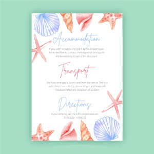 shells and sea animal beach design informatio card