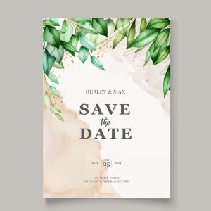 Modern elegant watercolour botanical save the date card