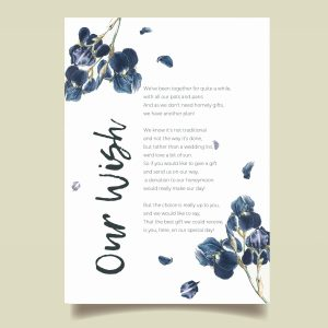 wish poem honeymoon card with navy watercolour flowers