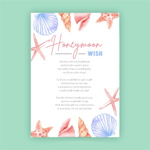 honeymoon wish card with beach design with shells and star fish