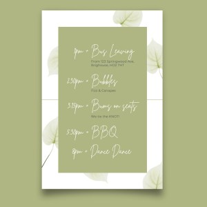 timeline card with watercolour green flowers