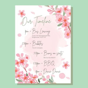 timeline card with watercolour pink minimal flowers background