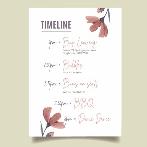 wedding timeline order of the day card with floral pattern