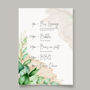 order of the day timeline card with botanical background