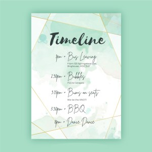 Watercolour background timeline card with geometrical shapes