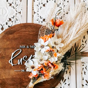 rustic boho artificial flower bouquet with pampas grass
