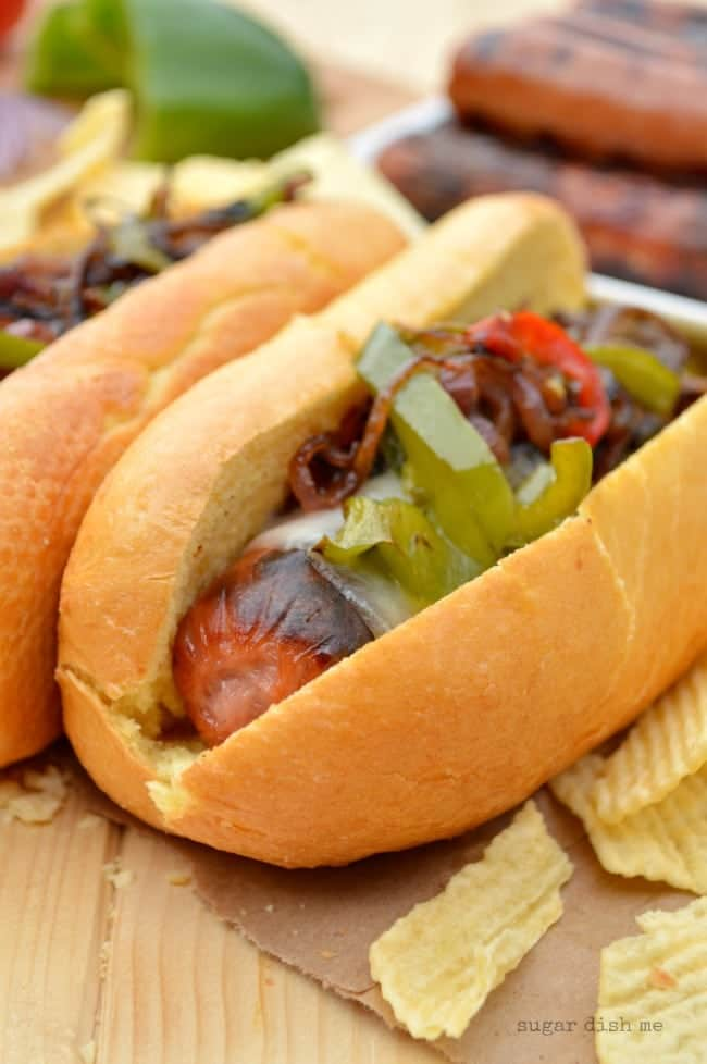 Hot Dogs with Peppers and Onions