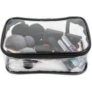 A transparent bag full of make up kit