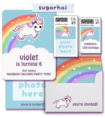 Unicorn Invitations from Free Unicorn Printables via Mandy's Party Printables