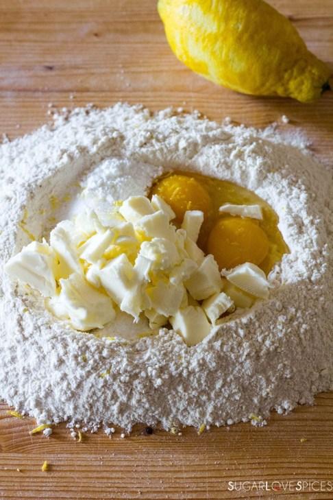 Crostata (Jam Tart)-ingredients in the flour well