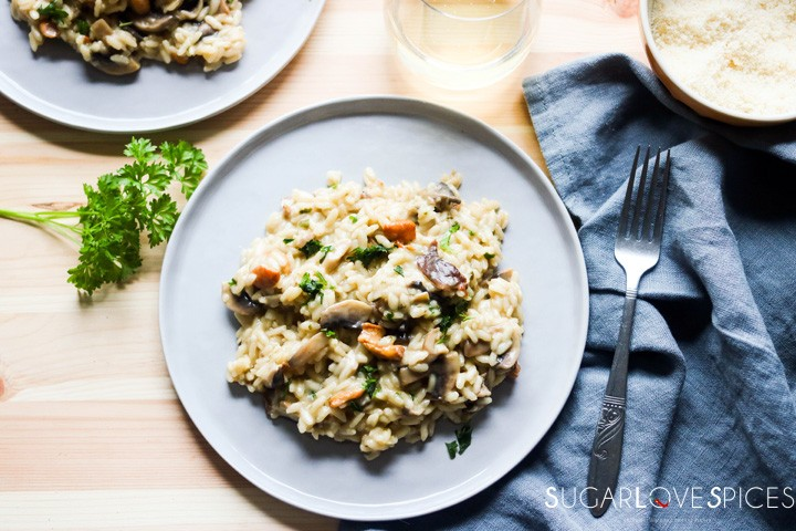 Mixed Mushroom Risotto-plate and glass