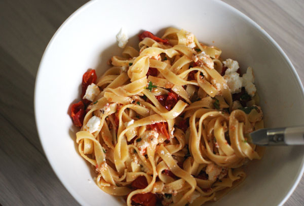 Tagliatelle with ricotta and roasted tomatoes