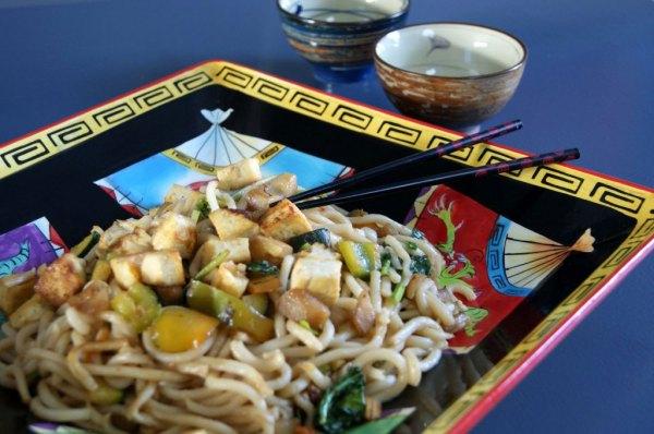 crispy tofu noodle stir-fry