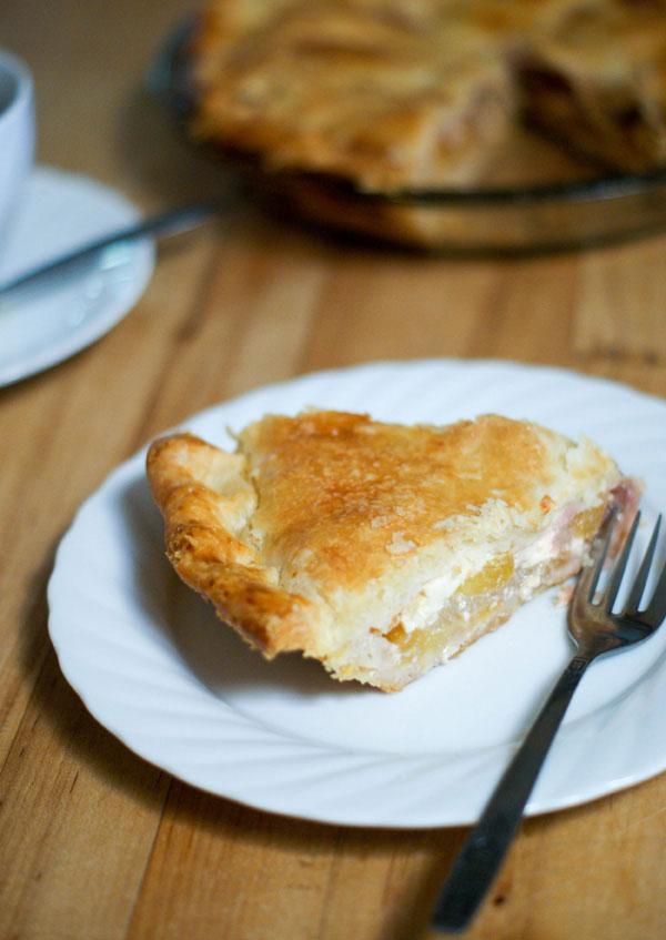 Peach, Rhubarb and Mascarpone Pie