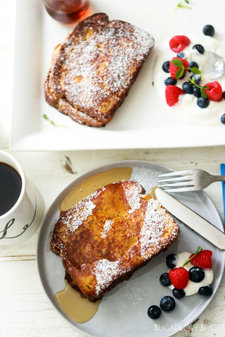 Nutella Banana Stuffed French Toast-on the plate with syrup