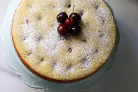 cherry almond olive oil cake