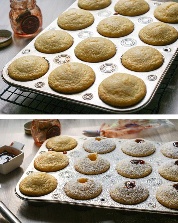 strawberry thumbprint corn muffins