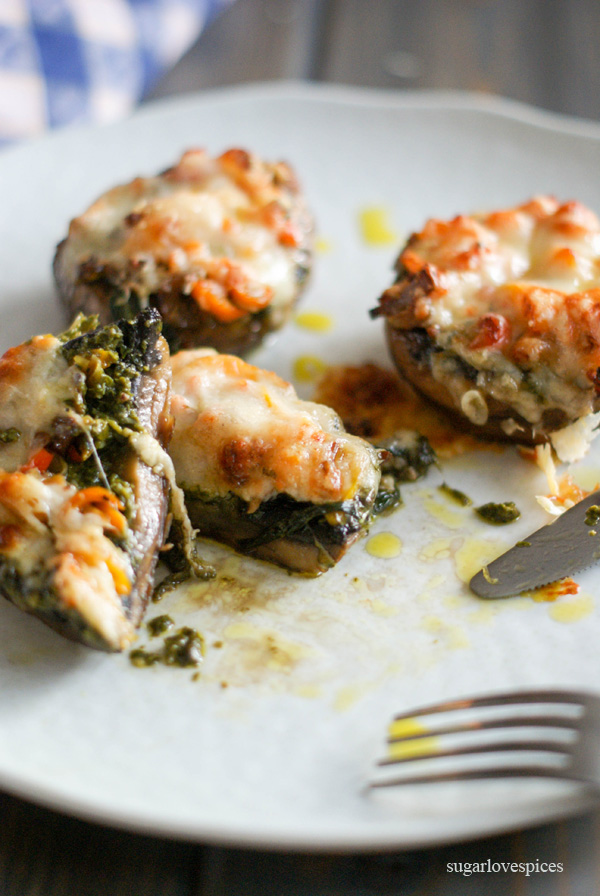 Portobellini Cheese Melts with Pesto and Peppers