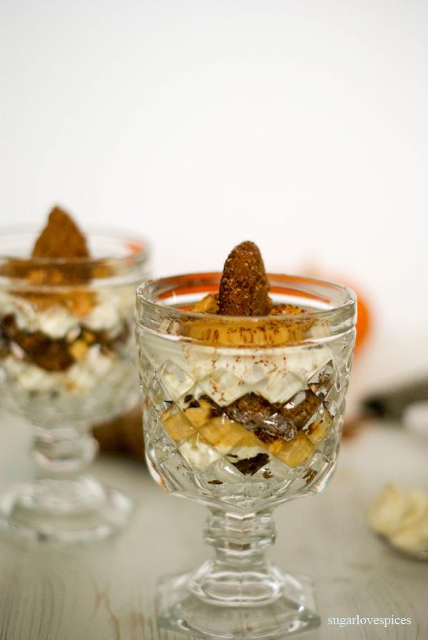 Pumpkin Spice Mascarpone Mousse with Ginger Molasses Cookies
