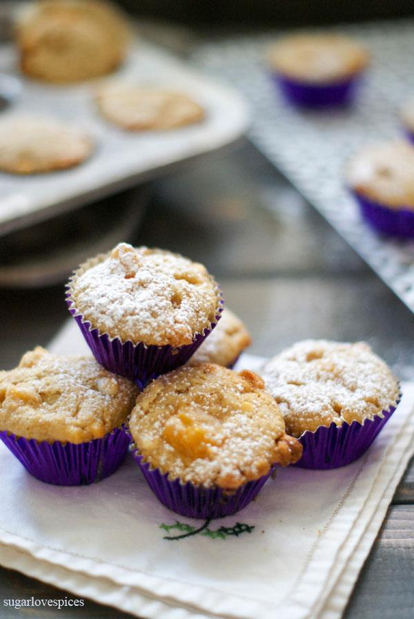 Peach White Chocolate Oat Mini Muffins