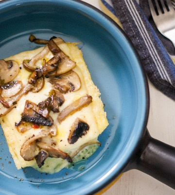 Polenta with Raclette and Mushrooms