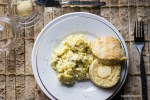 Feta dill scrambled eggs and the best biscuits ever